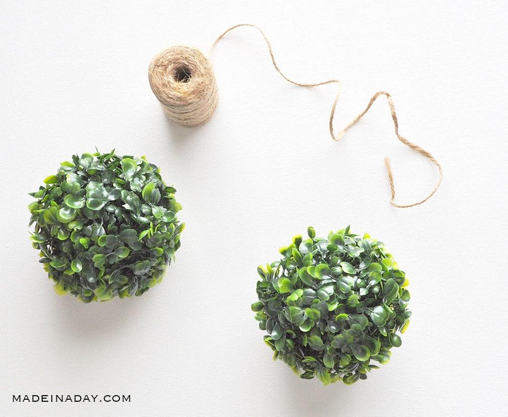 DIY Boxwood Ball Garland, green ball garland,