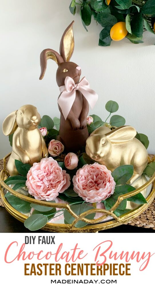 chocolate bunny centerpiece, gold bunny easter centerpiece, easter bunny centerpiece