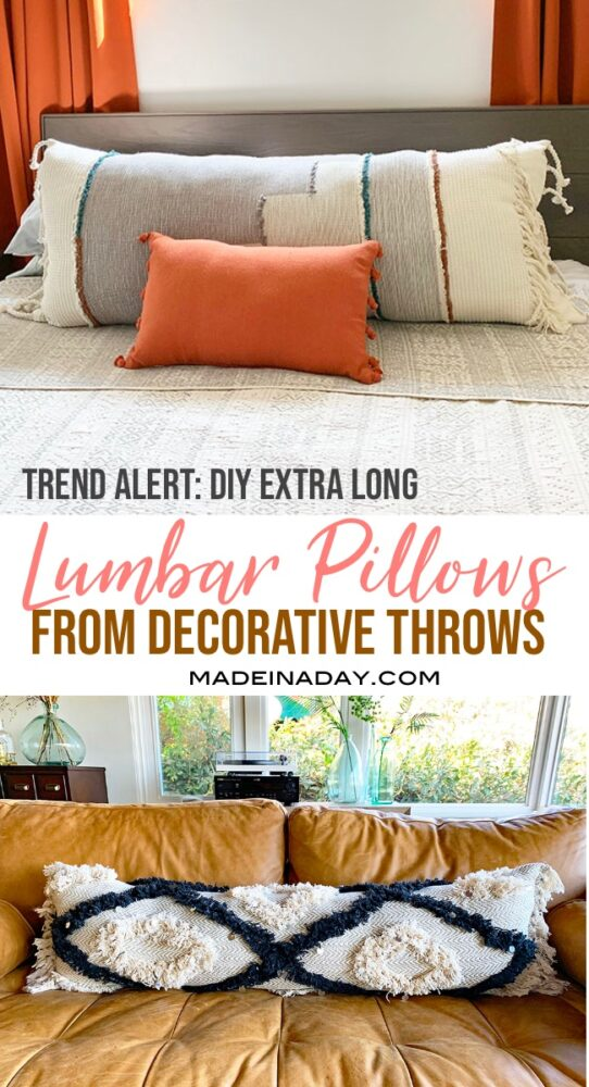 DIY Lumbar Pillows from a Throw Blanket, DIY bolster pillow the easy way