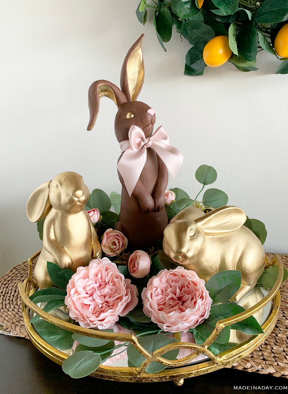 Faux Chocolate Bunny Figurine, chocolate bunny home decor, faux chocolate rabbit, chocolate bunny easter decorations, chocolate bunny centerpiece