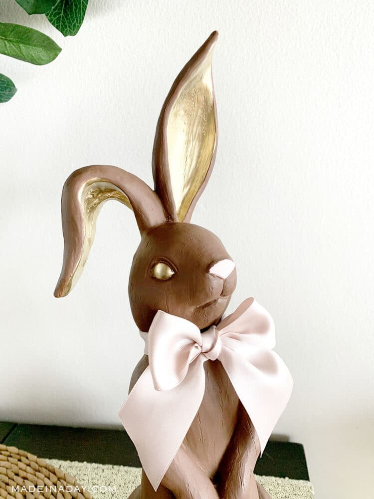 tall Easter chocolate bunny figurine, how to make an easter bunny tablescape,