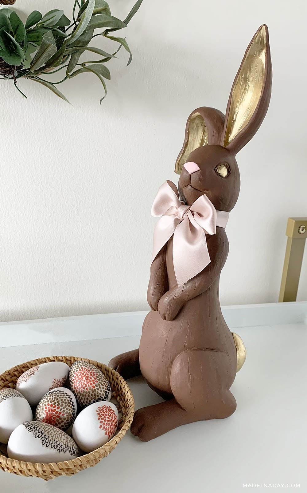 DIY faux chocolate bunny figure upcycle makeover, gold brown pink bunny