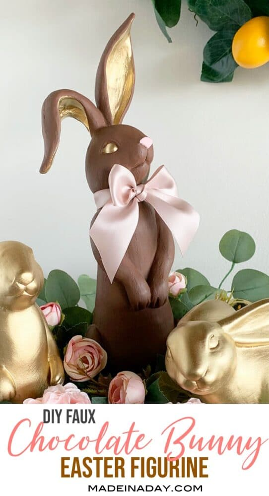 Easy DIY faux gold chocolate bunny, gold bunnies, how to paint faux chocolate bunny