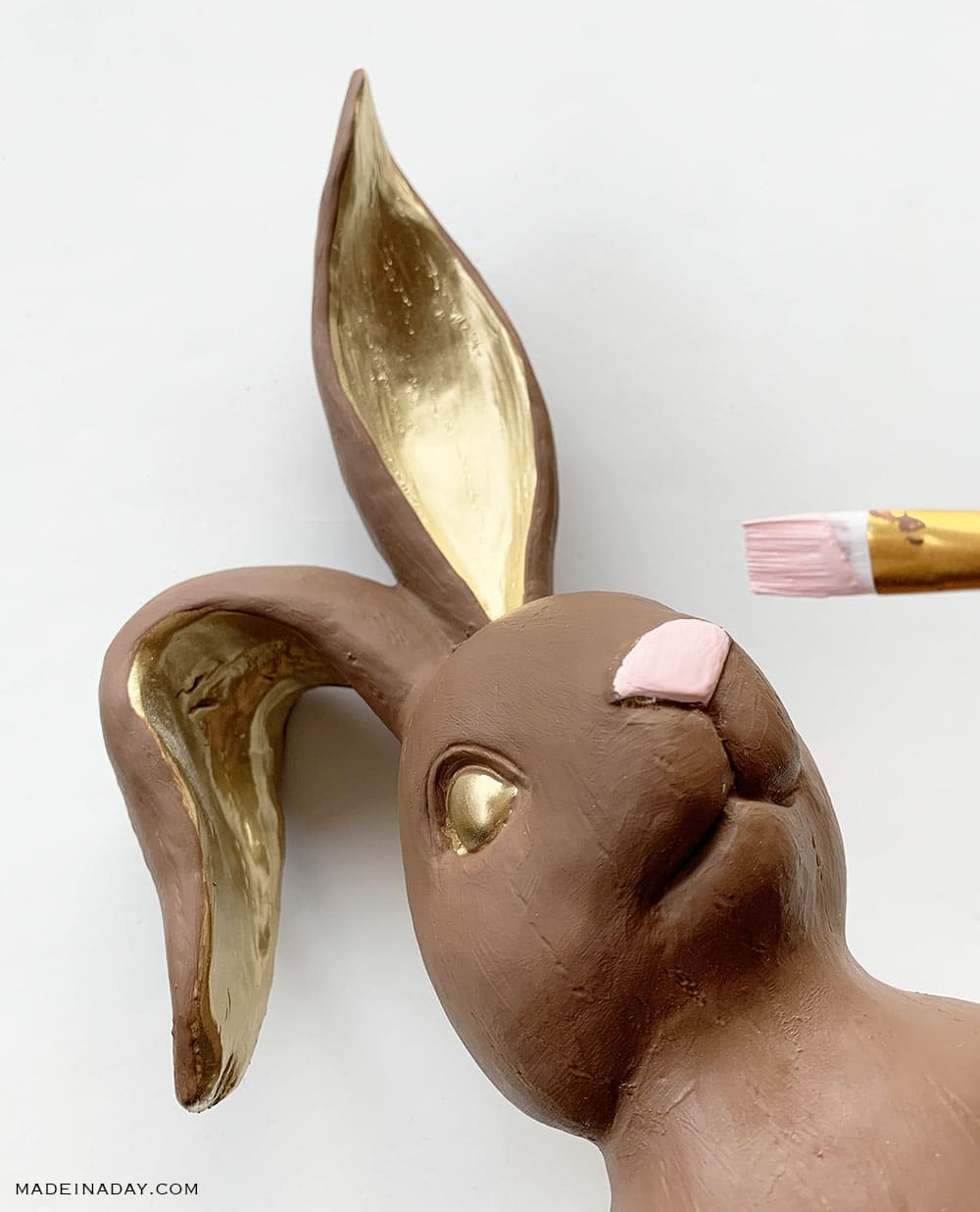 How to paint a chocolate bunny figurine, gold pink chocolate bunny