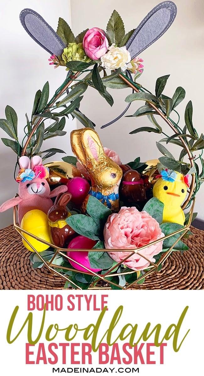 Bohemian Easter Basket, boho style Woodland Easter Basket, Floral Easter Basket