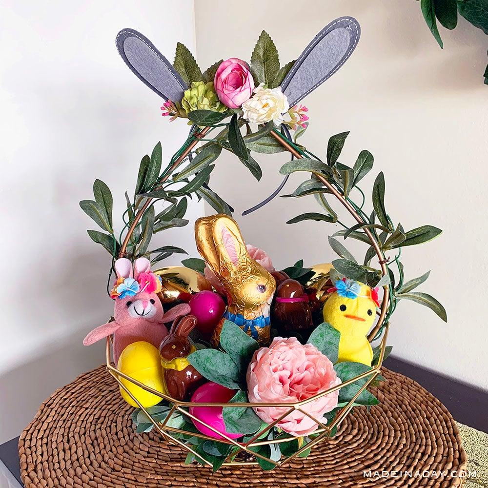 Boho Style Woodland Easter Basket, bohemian Easter Basket, Floral Easter basket, Easter basket centerpiece,