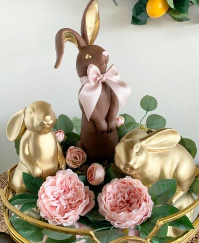 Golden Faux Chocolate Bunny Figurine 18