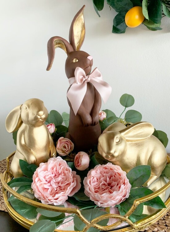 Golden Faux Chocolate Bunny Figurine 34