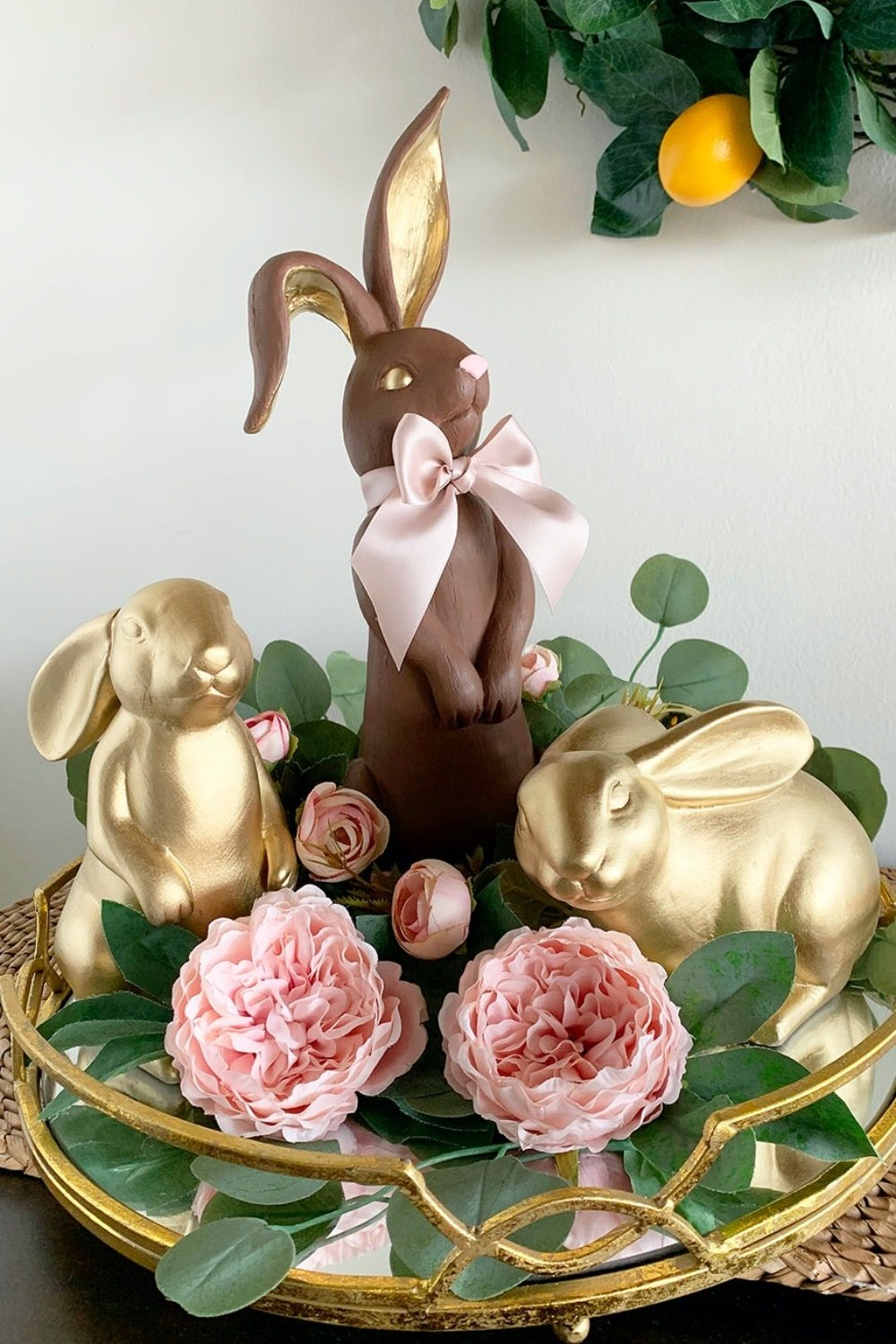 Golden Faux Chocolate Bunny Figurine 44