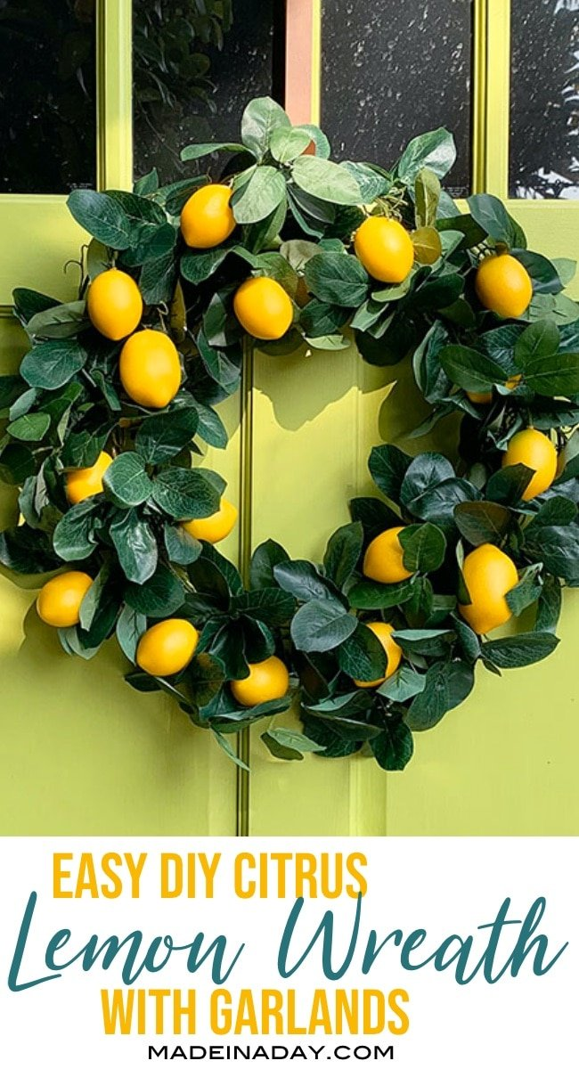 lemon wreath, citrus wreath, DIY wreath from a garland, citrus tree wreath, lemon tree wreath, orange tree wreath