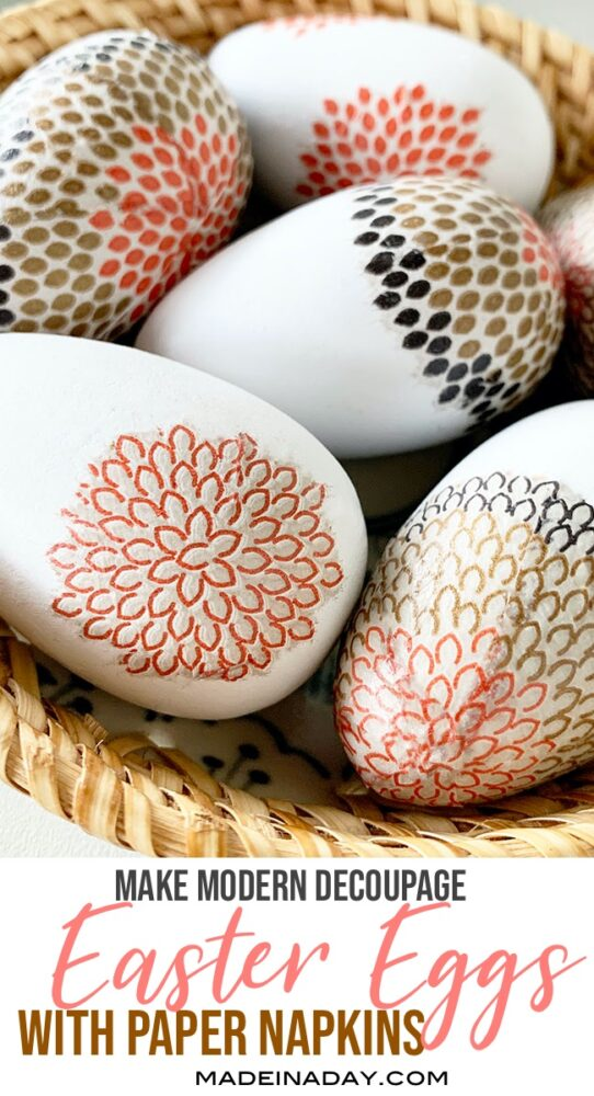 how to decoupage easter eggs, modern easter eggs, floral easter eggs