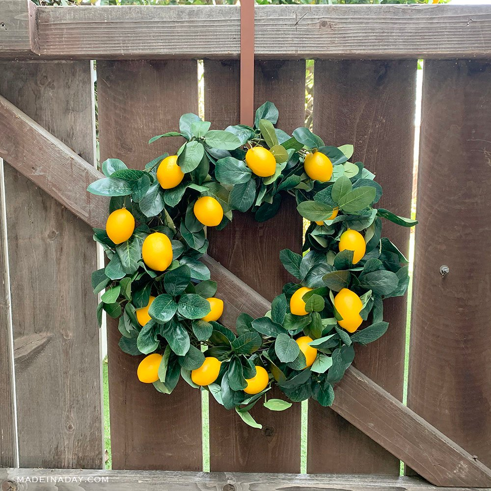 DIY Lemon Wreath from a Garland, DIY Citrus Wreath, Summer lemon Wreath,
