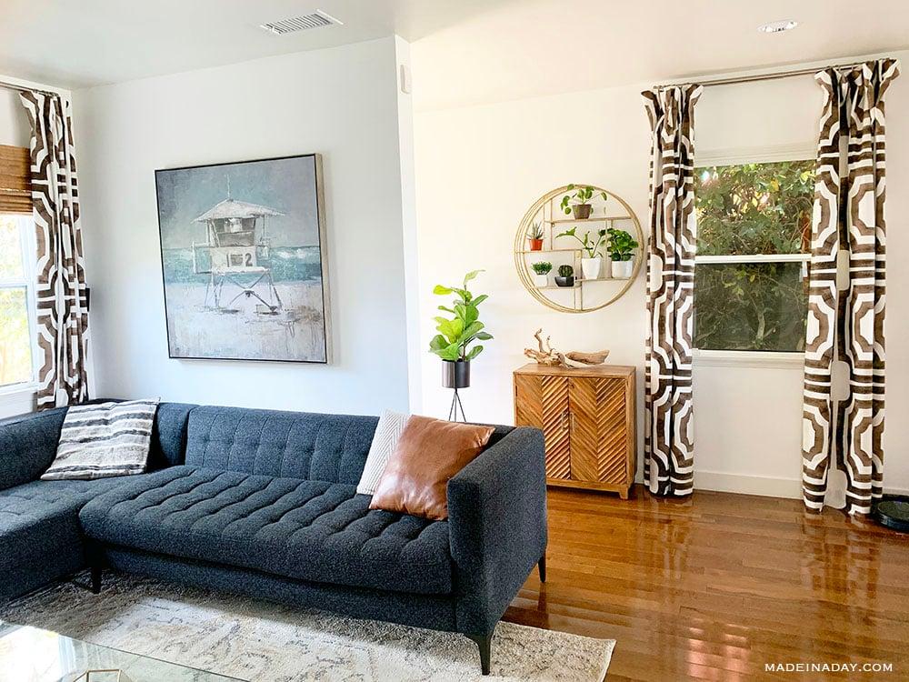 modern beach house, modern surf shack decor, tufted couch, bungalow beach house