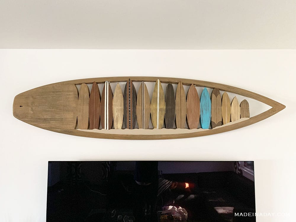 real carved and painted surfboard wall art