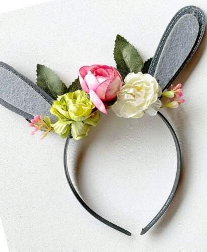 Floral Woodland Bunny Ears Headband 11