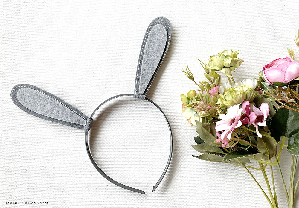 how to make flower bunny ears, woodland bunny ears with flowers