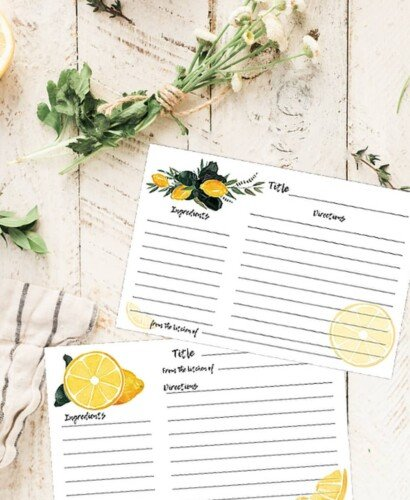 Watercolor Lemon Recipe Cards: Edit and Print! 5