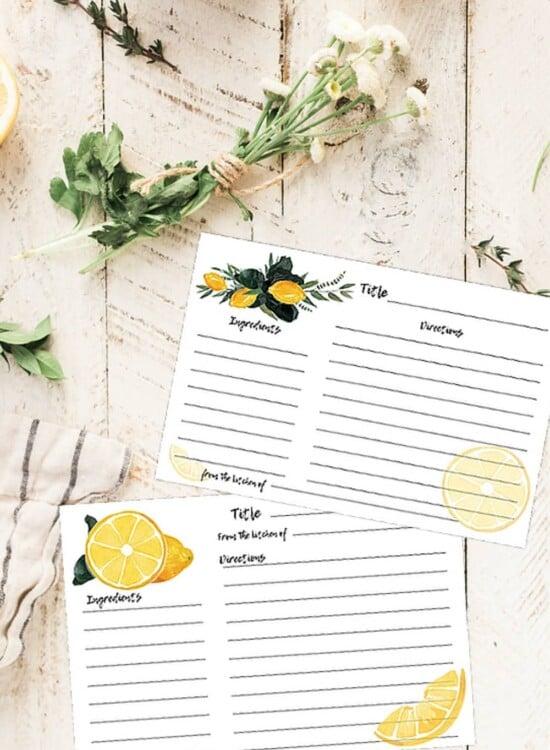 Watercolor Lemon Recipe Cards: Edit and Print! 2