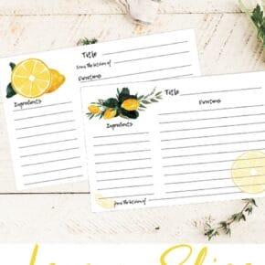 Watercolor Lemon Recipe Cards: Edit and Print! 1
