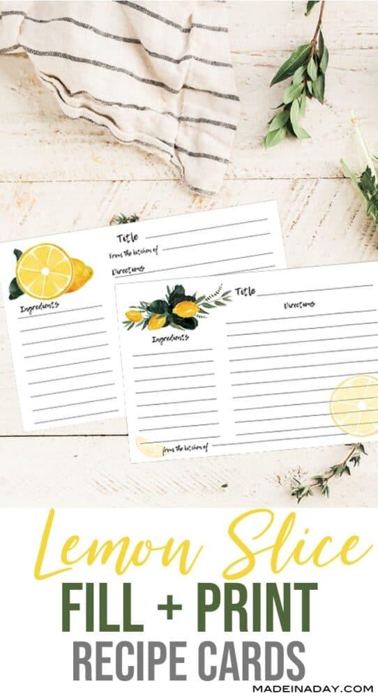 Fillable Lemon Recipe Card Printable