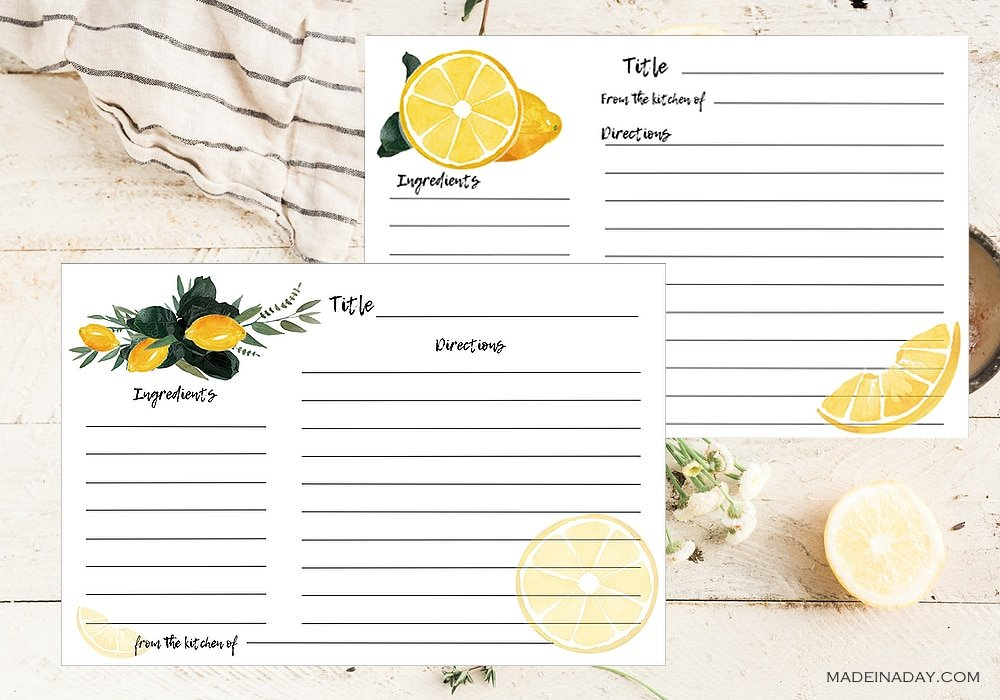 fillable lemon recipe cards, editable recipe cards, edit and print recipe cards, lemon recipe cards, lemon slice recipe cards