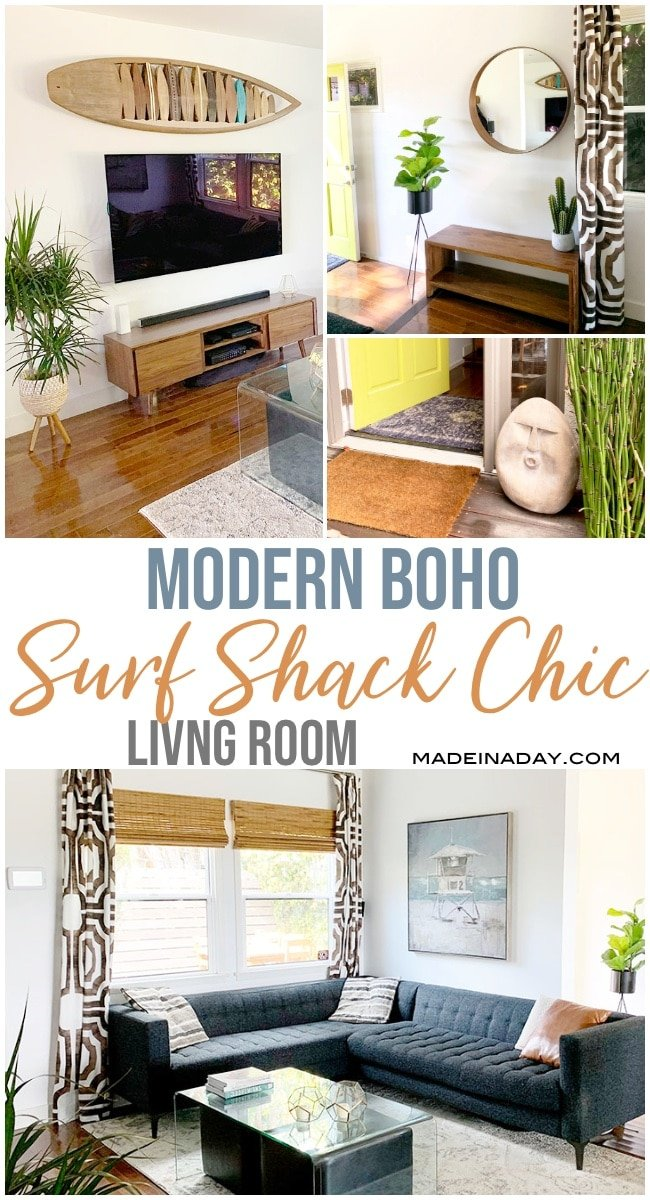 surf shack style, beach house, coastal decor, modern boho chic, surf shack chic, California surf shack, California beach house