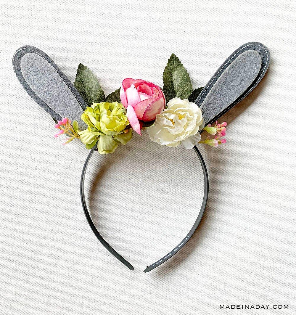 Floral Woodland Bunny Ears Headband, floral bunny ear headband, woodland creature headband, flower bunny ears, floral easter bunny ears, easter bunny ears with flowers