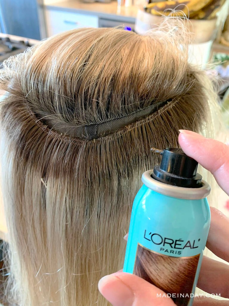 add roots to wefts with root spray, add loreal root spray to wig, add loral root spray to hair topper