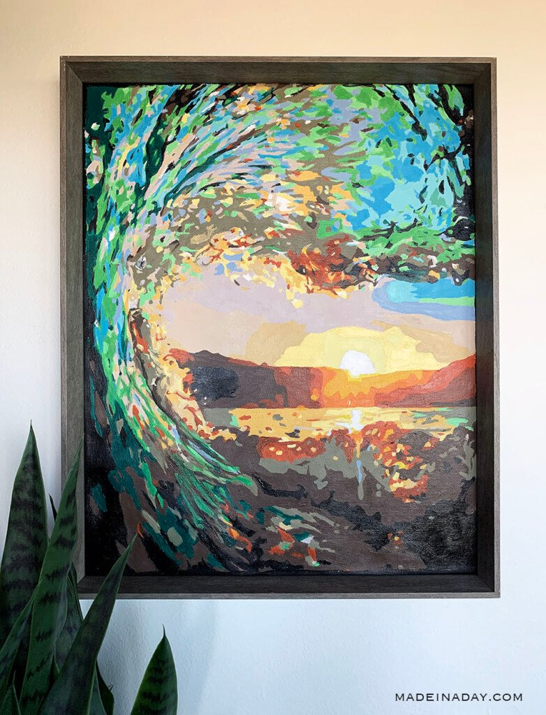 DIY Paint By Numbers Art: Surf at Sunset, wave paint by number, ocean paint by number