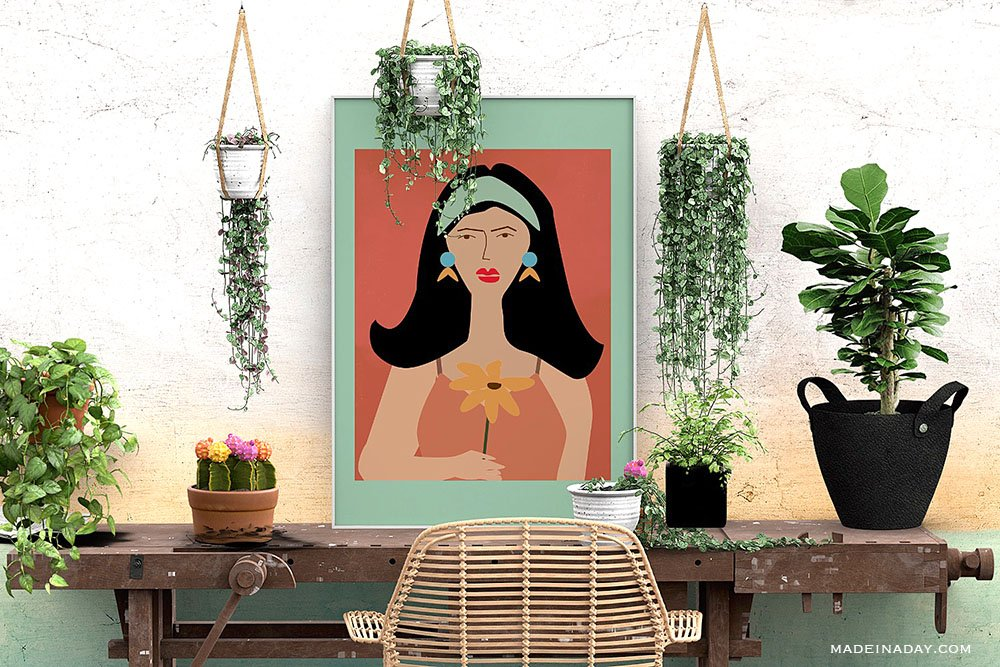 abstract lady art prints, abstract lady wall art, printables