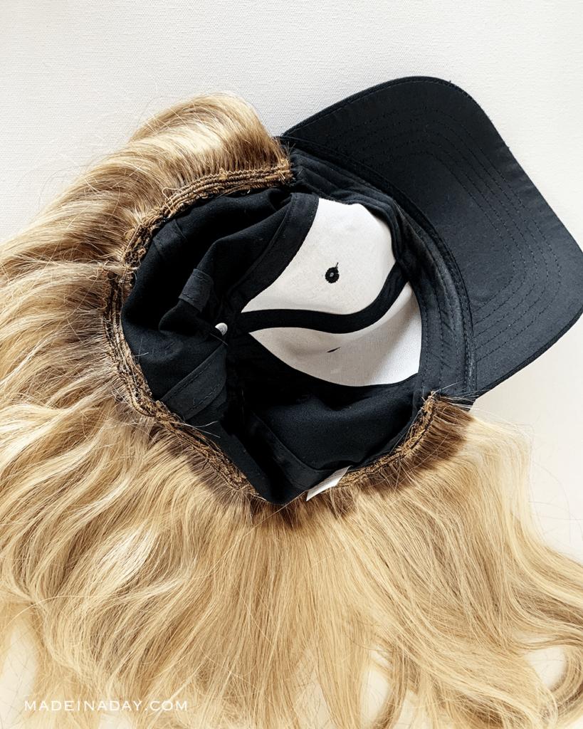 inside look of a hair wig, DIY Wig hat