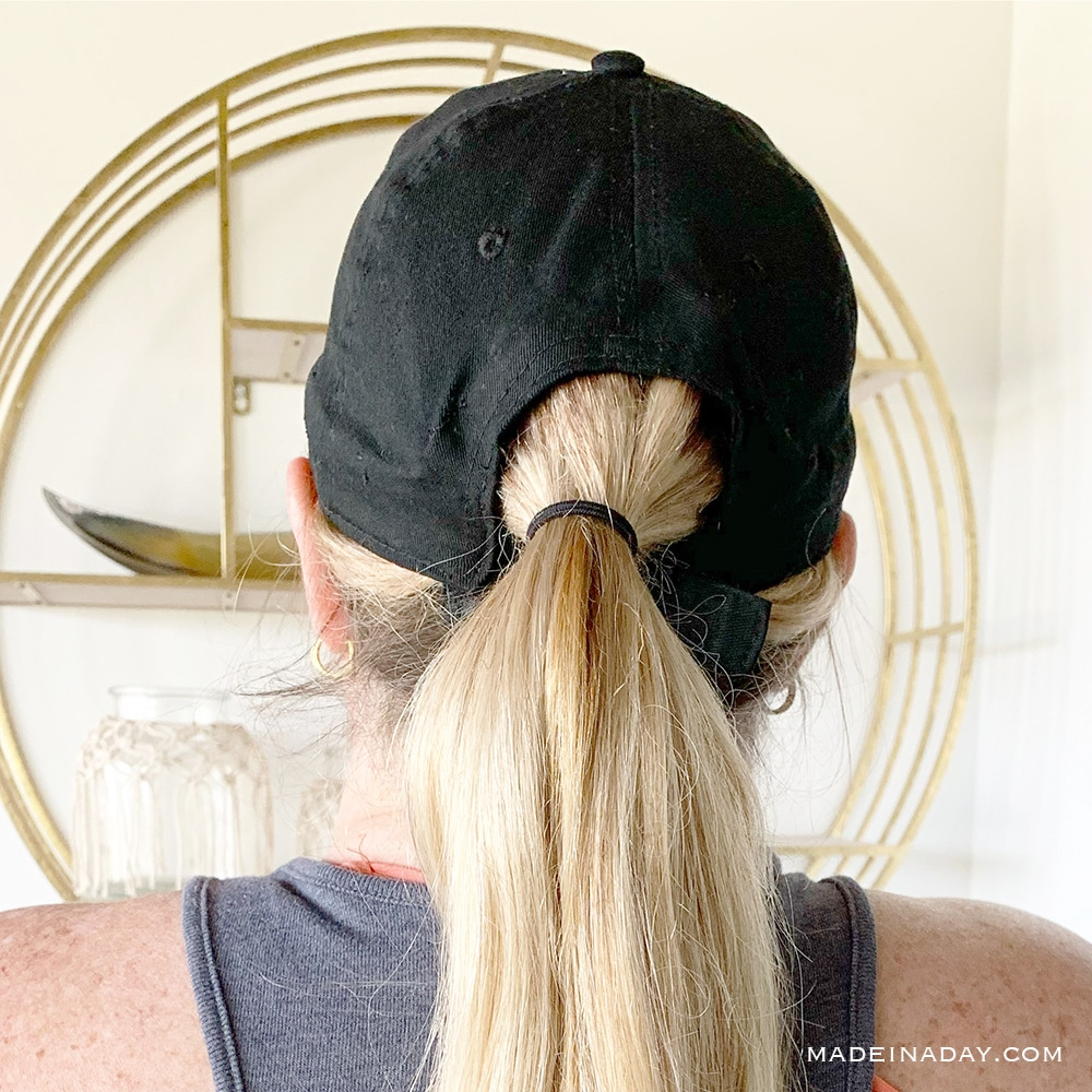 wig hat with ponytail, DIY wig hat, Diy Hair hat with ponytail, blonde wig hat