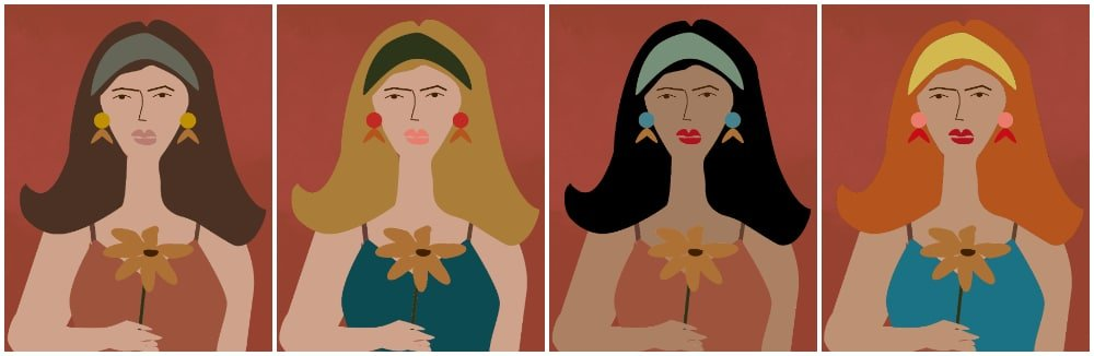 four abstract lady art prints