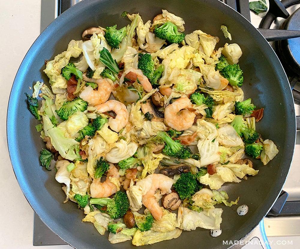 shrimp bok choy broccoli mushroom stir fry, 2B Mindset