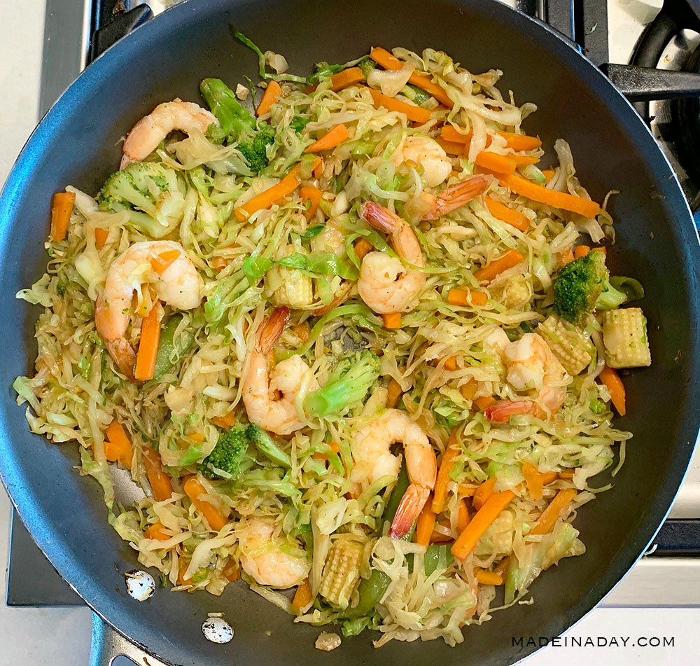 shrimp broccoli, cabbage, baby corn stir fry, 2B Mindset