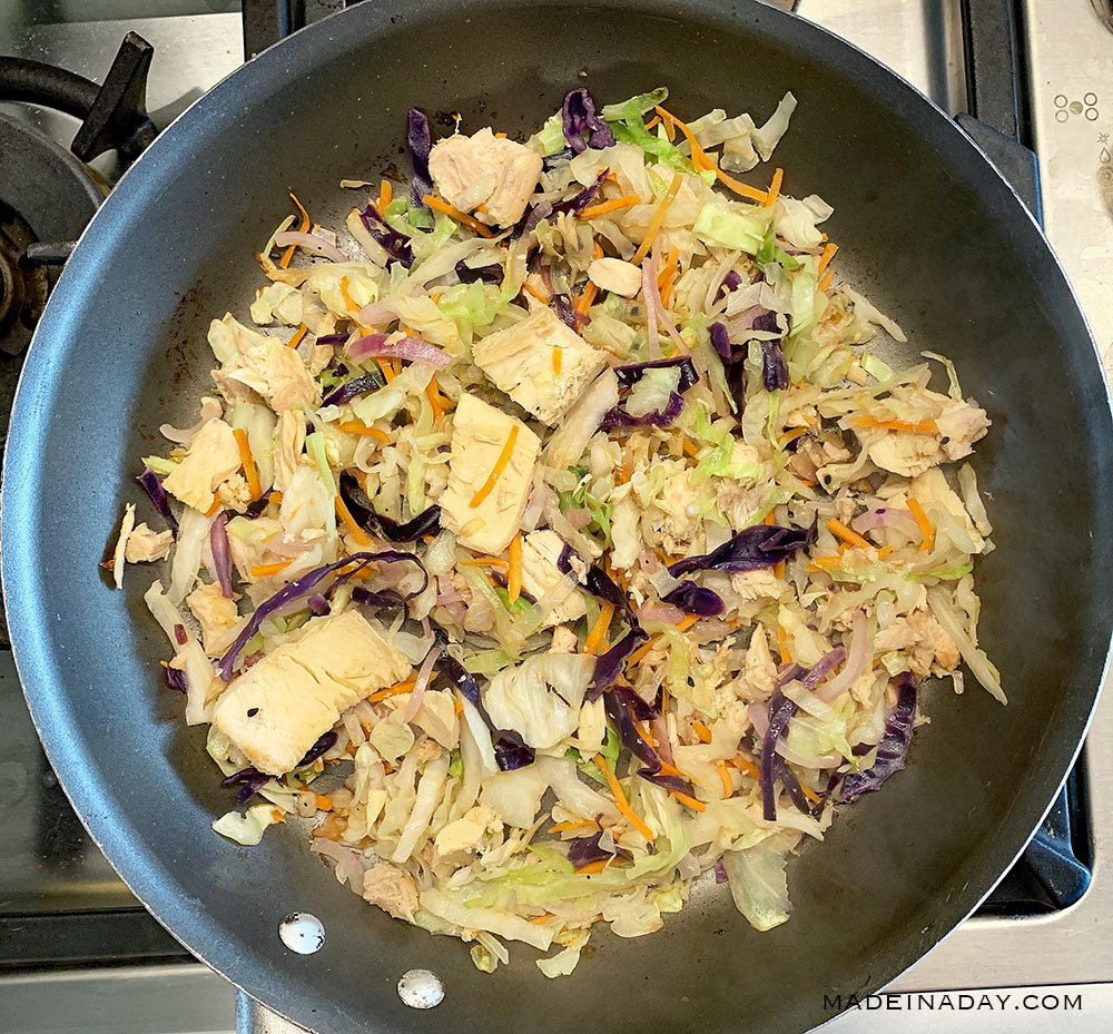 Tuna fish cabbage celery red onion stir fry, 2B Mindset