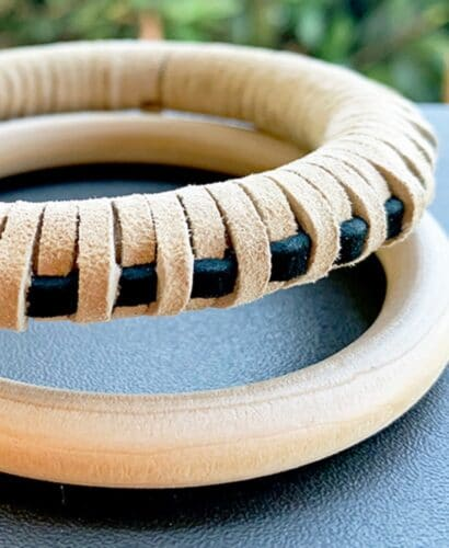 DIY Leather Wrapped Bangle Bracelet 5