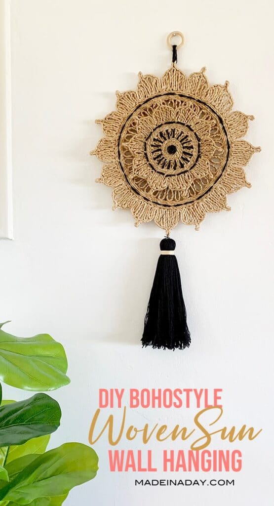 DIY Woven Sun Wall Art, how to make a woven sun, wall art from a trivet