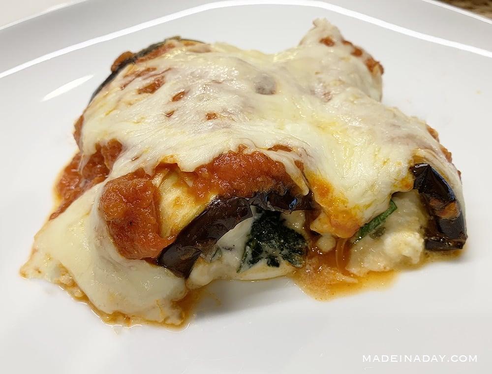 low carb eggplant rollatini. eggpalnt roll ups 2B Mindset Recipe