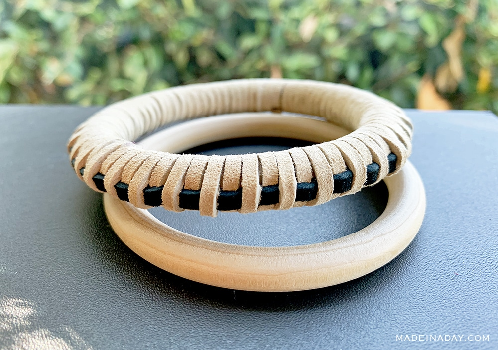 DIY Leather Wrapped Bangle Bracelet, suede bangle bracelet, leather wrapped ring home decor
