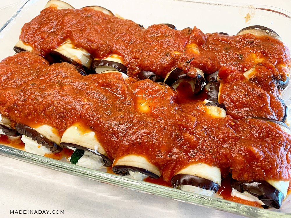 Skinny Baked Eggplant Rollatini with Spinach 3