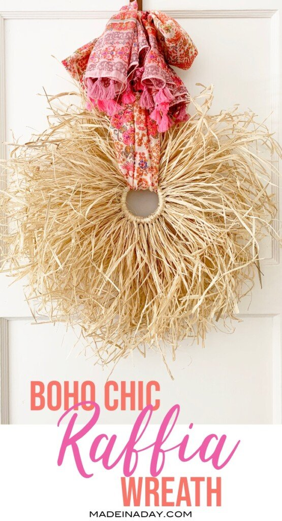 boho tassel raffia wreath