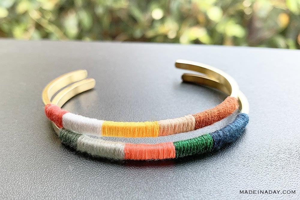 Neon Wrapped Cuff, Neon cuff bracelet,