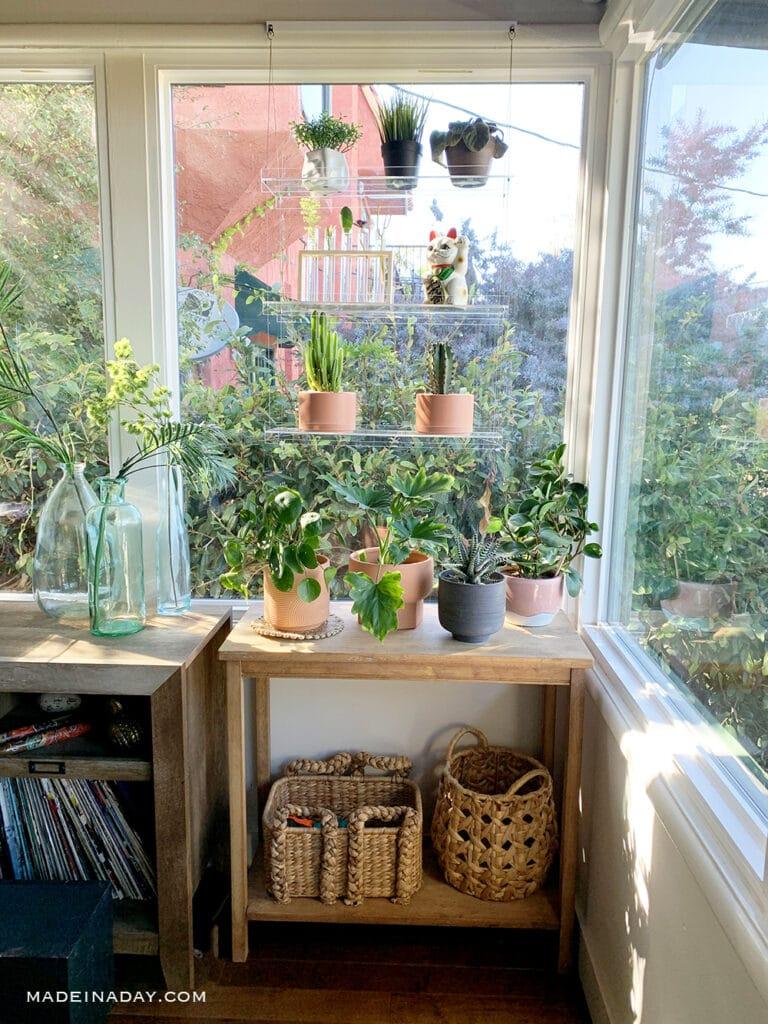DIY window shelf, clear shelf in window,