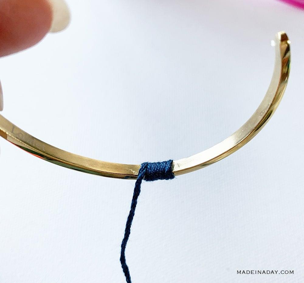wrap embroidery floss on bracelet, wrapped bracelet