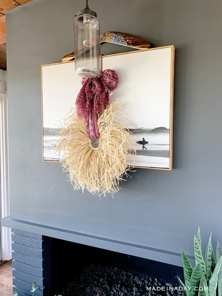 bohemian raffia wreath, scarf wreath, surf shack fall decor