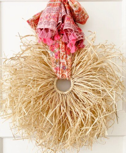 Fall Boho Raffia Wreath DIY 11