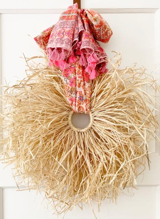 Fall Boho Raffia Wreath DIY 3
