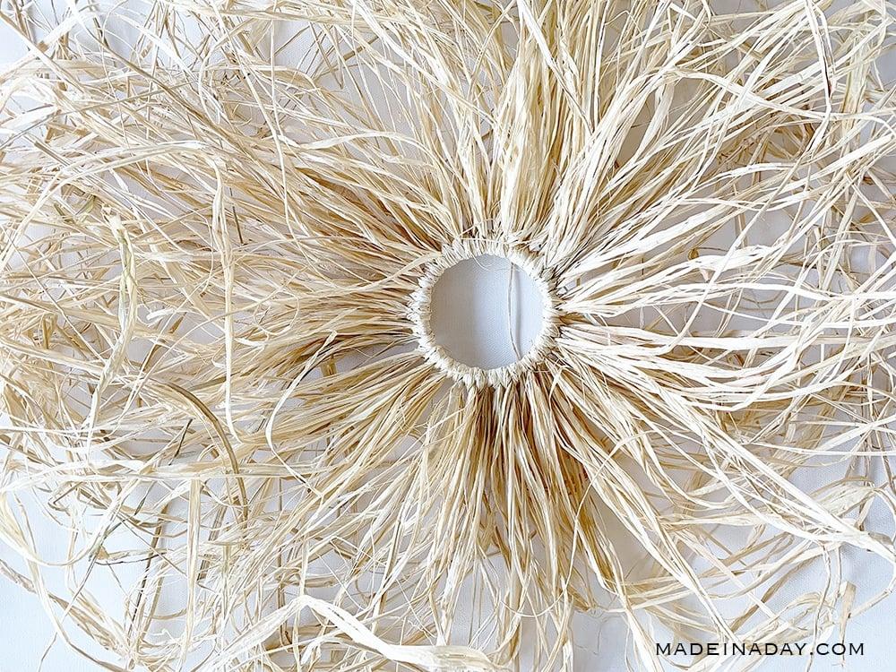 natural raffia wreath, natural grass wreath