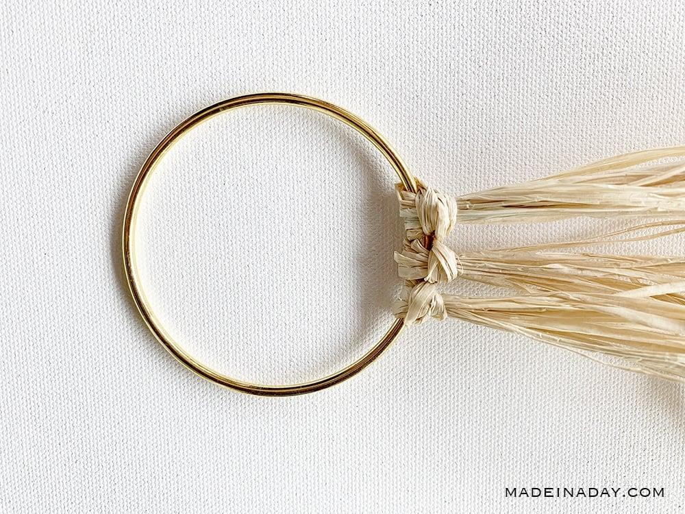 raffia knots on macrame hoop